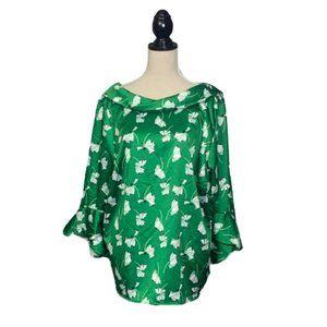 NWT ELOQUII Satin Green Blouse Bell Slvs Plus 18